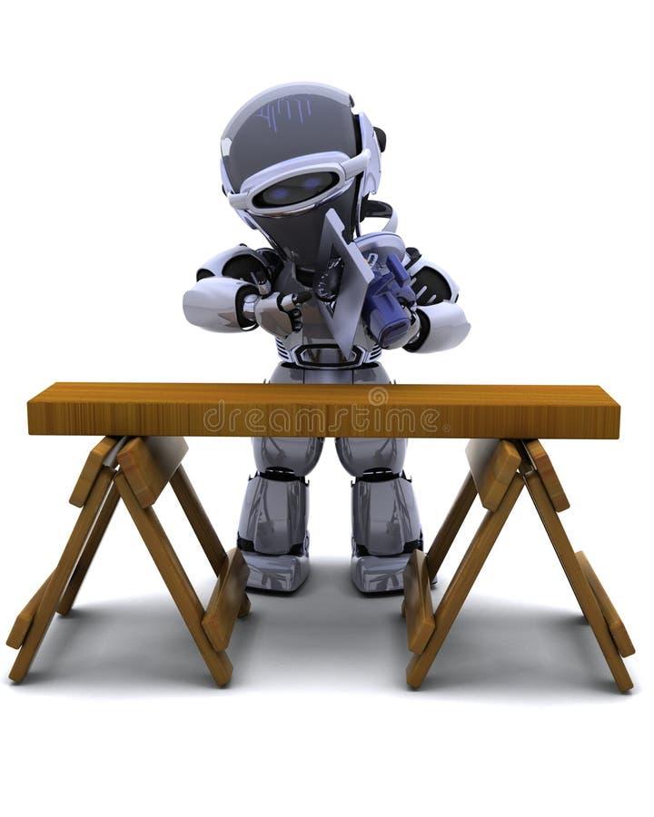 剪切次幂机器人锯木头 库存例证