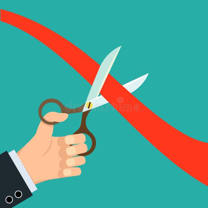 剪切红色丝带剪刀 库存例证