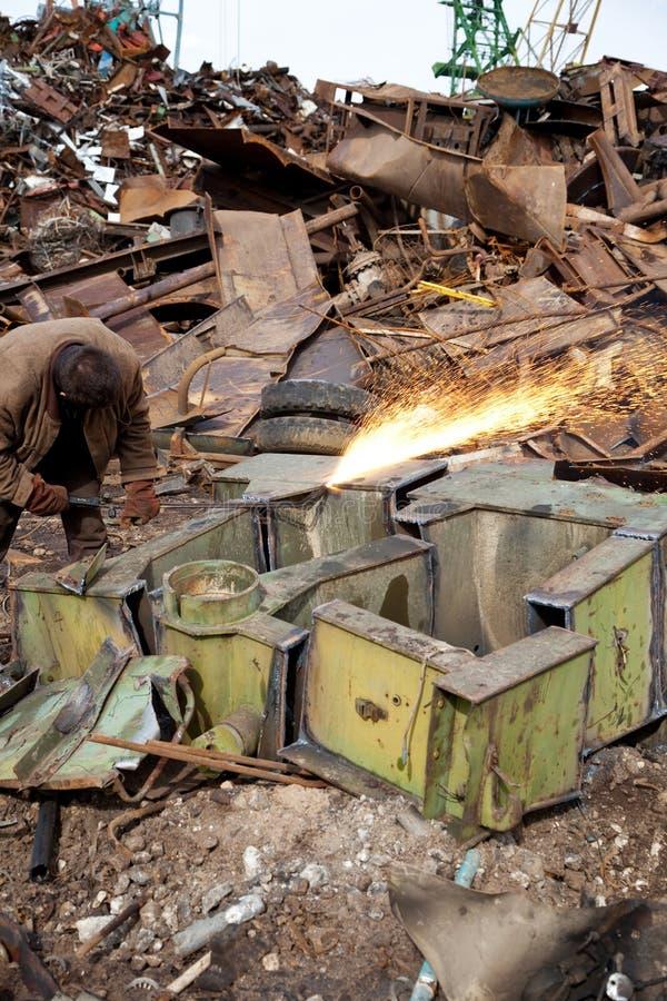 剪切金属火炬点燃焊工 免版税库存照片