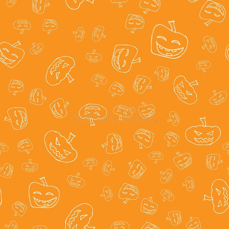 剪影万圣节南瓜无缝的概述 在一个手拉的样式的万圣节南瓜无缝的概述 10月收获背景 库存例证