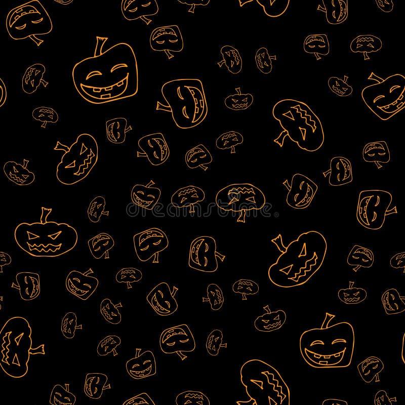 剪影万圣节南瓜无缝的概述 在一个手拉的样式的万圣节南瓜无缝的概述 10月收获背景 图库摄影