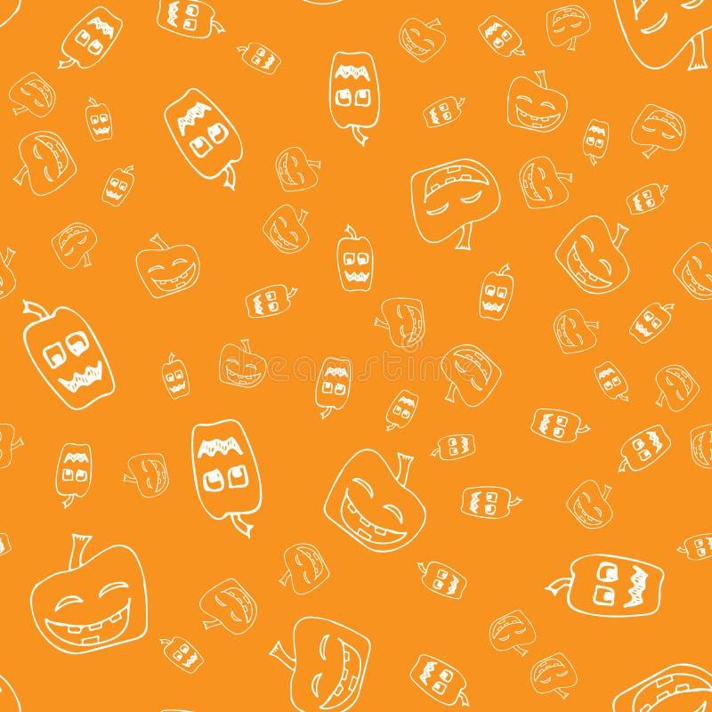 剪影万圣节南瓜无缝的概述 在一个手拉的样式的万圣节南瓜无缝的概述 10月收获背景 库存图片
