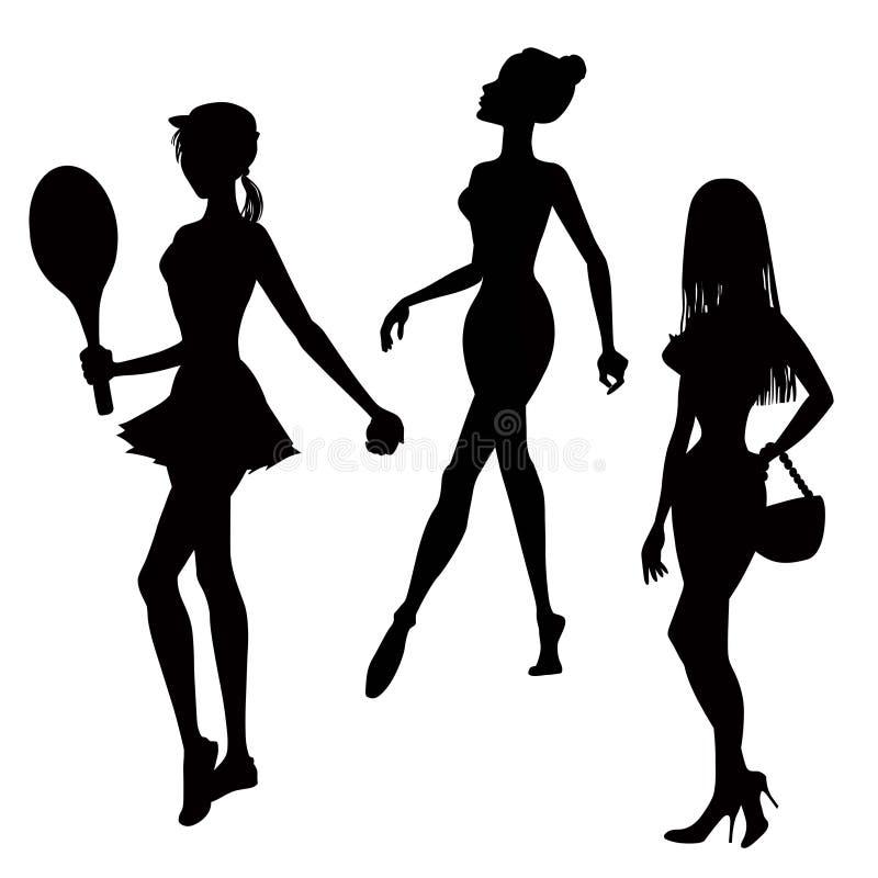剪影三名妇女 向量例证