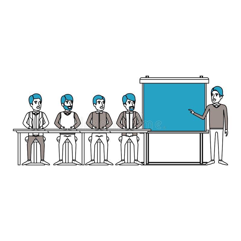 剪影与坐在行政男性的一张书桌的人小组的颜色部分在presentacion商人 向量例证