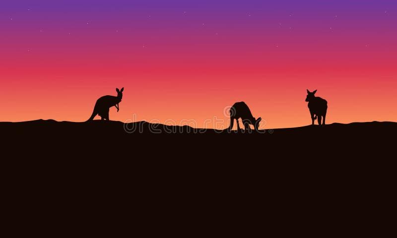 剪影与秀丽天空的风景袋鼠 皇族释放例证