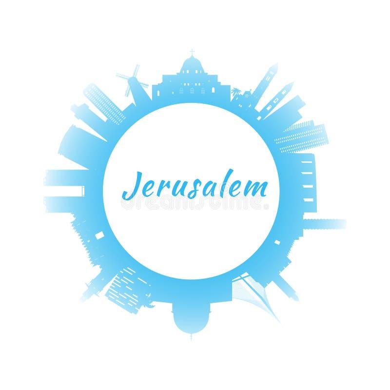 剪影与蓝色大厦的耶路撒冷地平线 库存例证