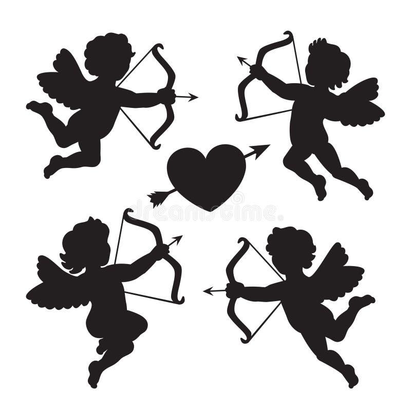 黑剪影丘比特 设计为情人节 向量 皇族释放例证