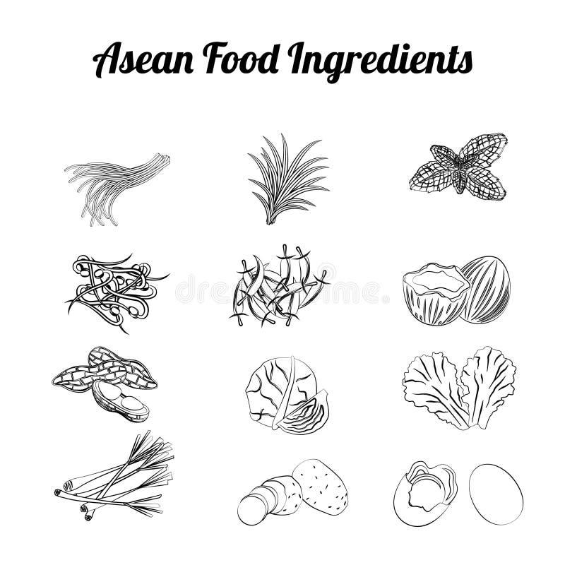 剪影东南亚国家联盟食物元素002 免版税库存图片