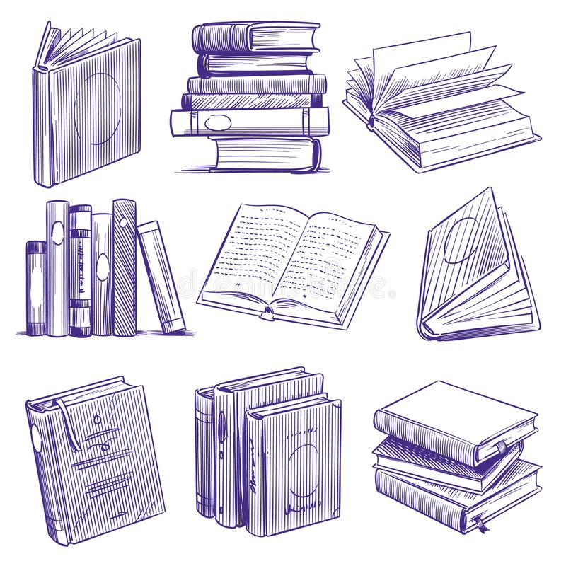 剪影书 葡萄酒手图画堆书 图书馆文学教育标志,剪影板刻笔记本传染媒介 库存例证