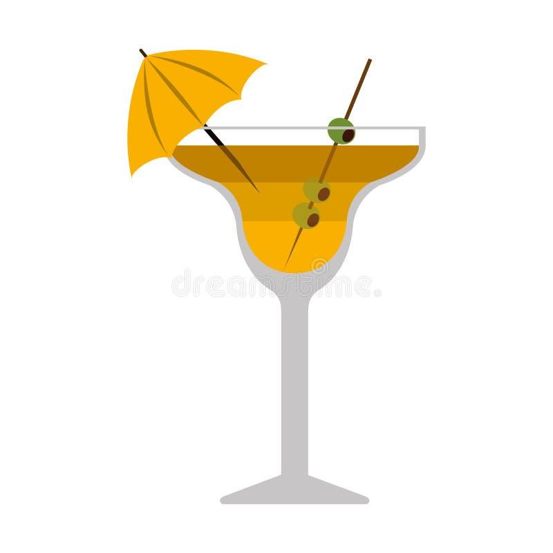 剪影五颜六色与饮料鸡尾酒杯 向量例证