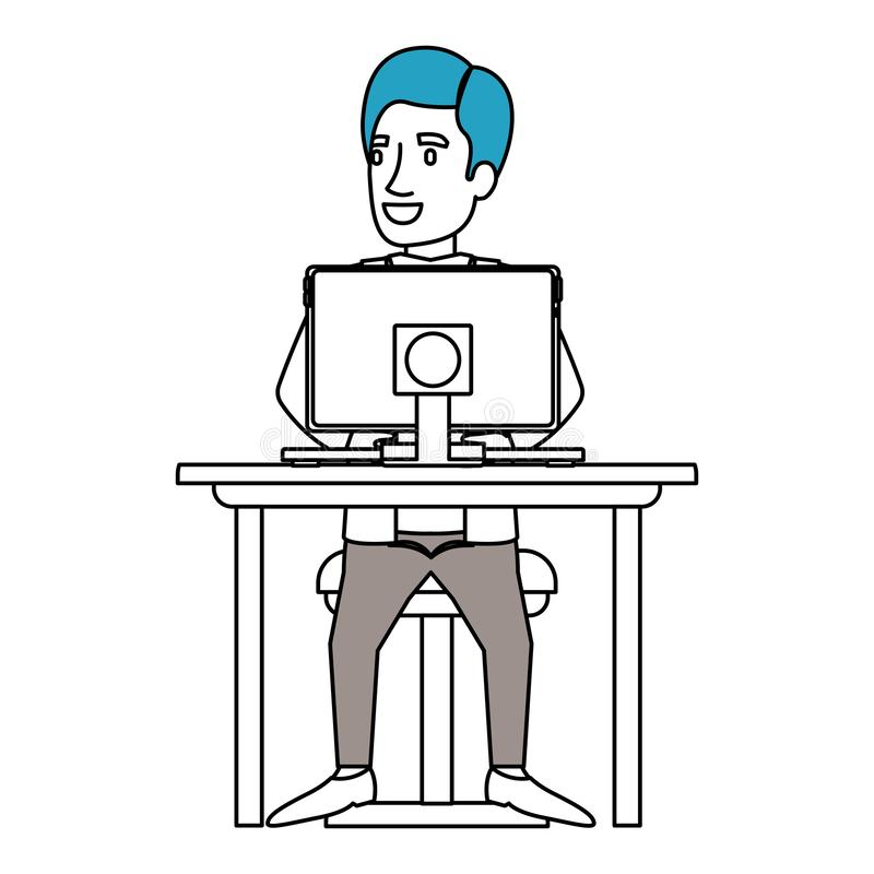 剪影人和边的颜色部分有正装的分开了头发和坐在书桌的椅子有计算机的 库存例证