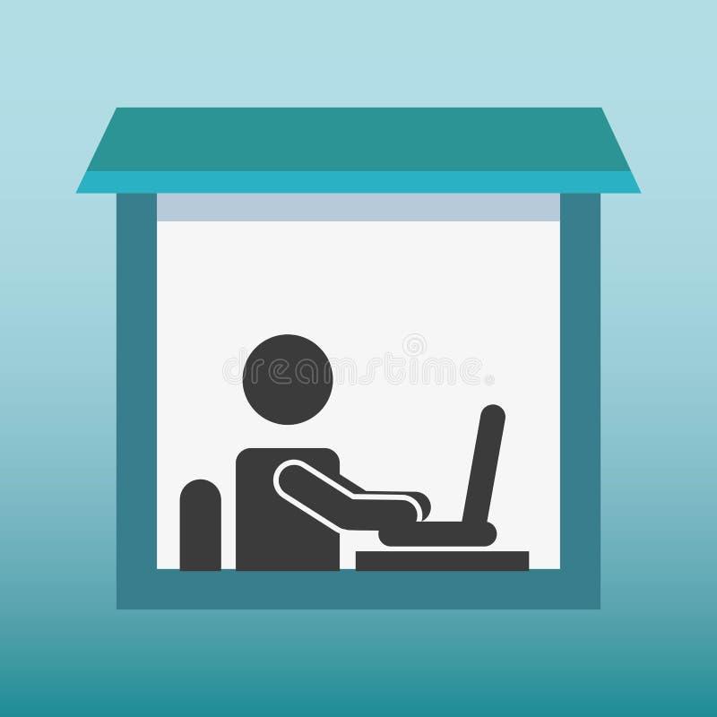 剪影人工作在膝上型计算机 库存例证