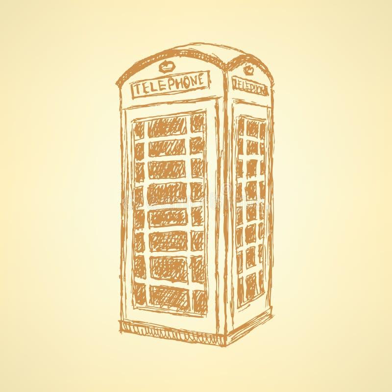 剪影伦敦电话客舱,背景 库存例证