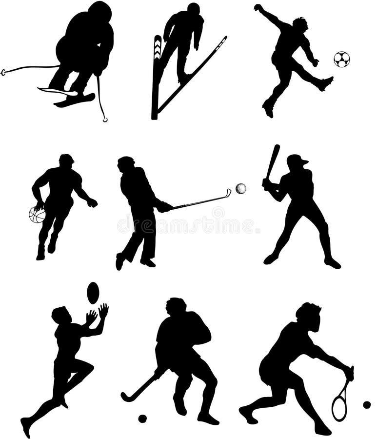 剪影体育运动类型 向量例证