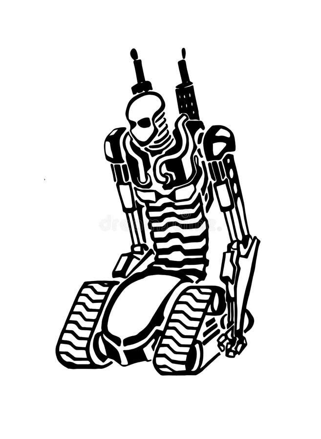 剪影创造性的机器人 库存例证
