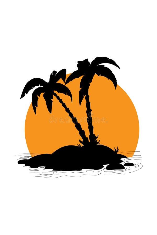 剪影剪影手例证在海岛或海滩上的棕榈树 库存例证