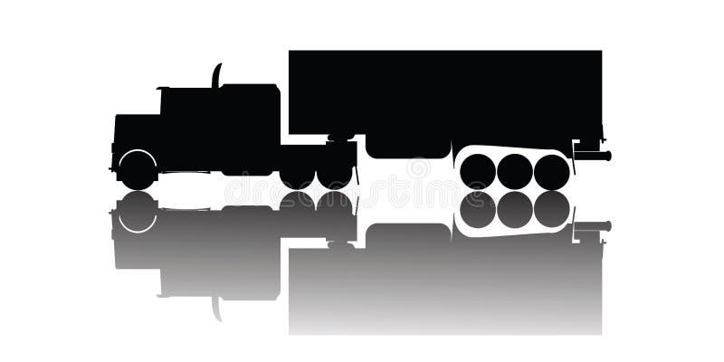 剪影卡车向量 库存例证