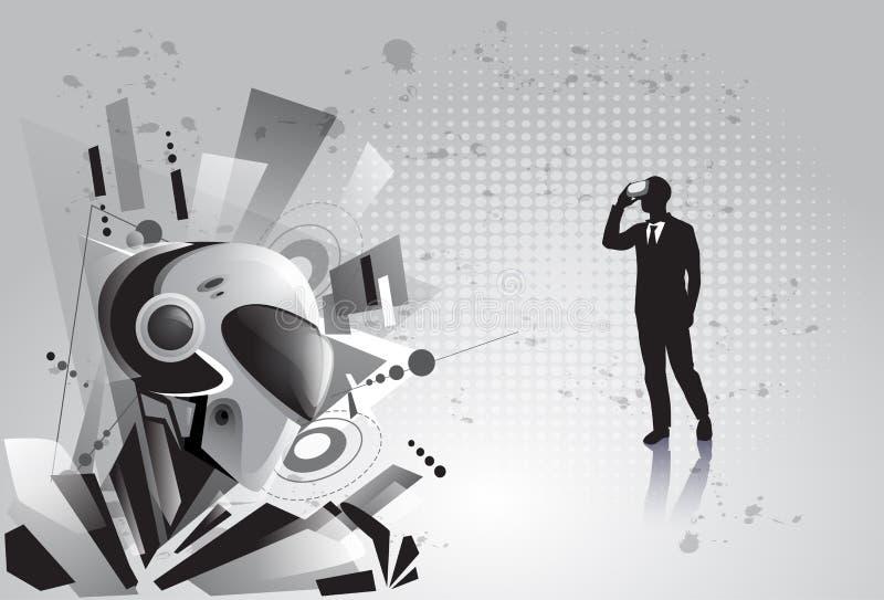 剪影商人穿戴虚拟现实数字式玻璃看见现代机器人 皇族释放例证