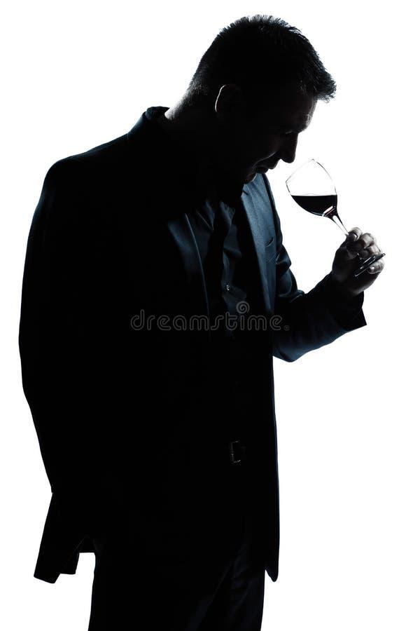 剪影嗅到红葡萄酒玻璃的人纵向 免版税库存照片