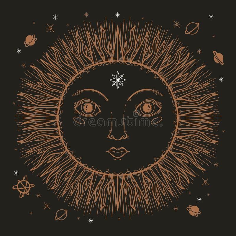 剪影图表例证美好的太阳面对与神秘和隐密手拉的标志 也corel凹道例证向量 葡萄酒手与 向量例证