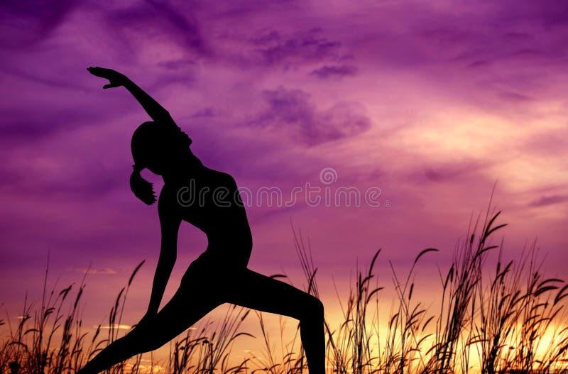 剪影在室外公园的女子瑜伽。 免版税库存照片