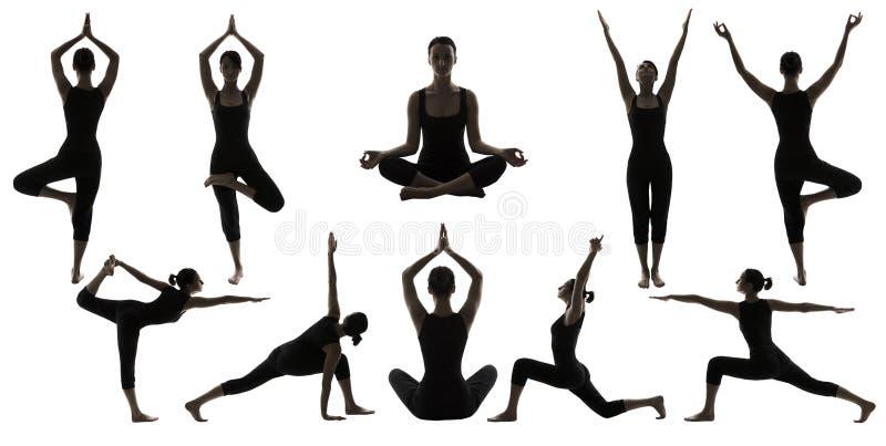 剪影在白色,妇女Asana位置锻炼的瑜伽姿势 库存图片