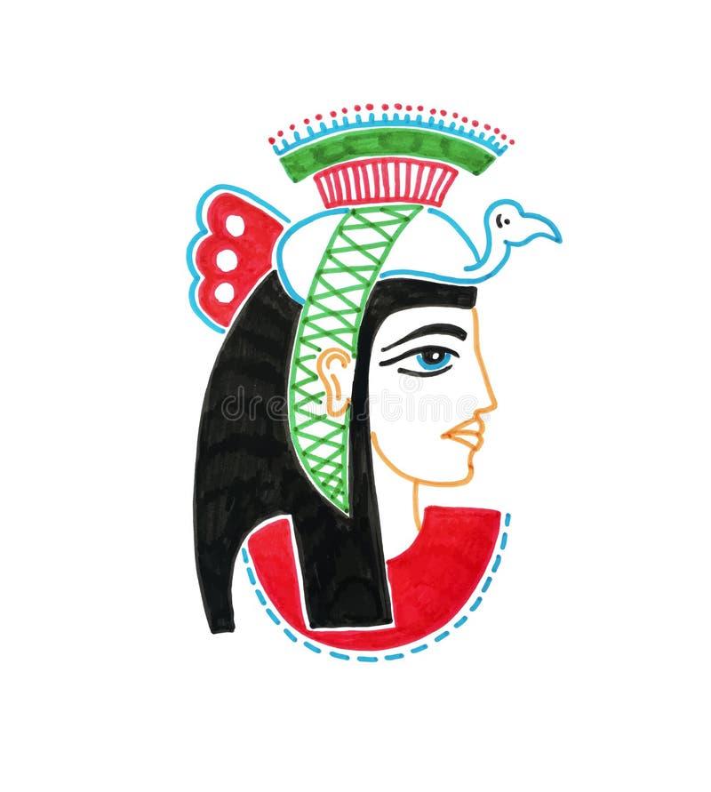 剪影埃及女神标志图画有鸟的 库存例证