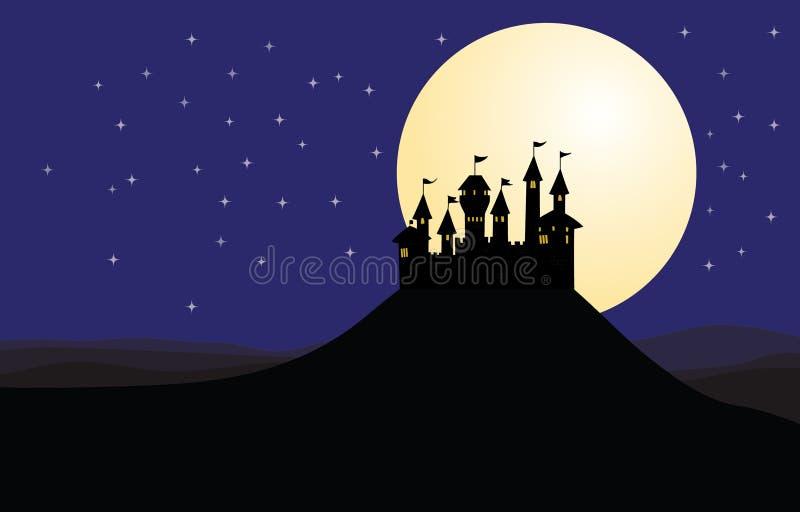 剪影城堡夜月亮 皇族释放例证