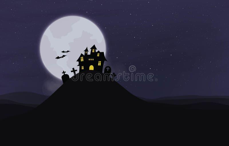 剪影城堡夜月亮 向量例证