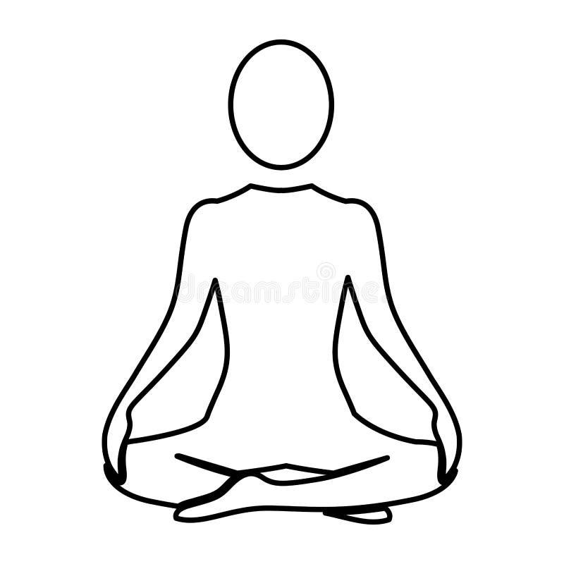 剪影女子坐的瑜伽位置 库存例证