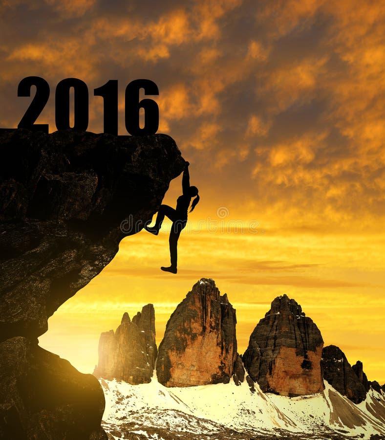 剪影女孩上升入新年2016年 免版税库存图片