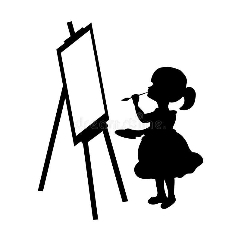 剪影女孩在帆布的艺术家油漆 库存例证