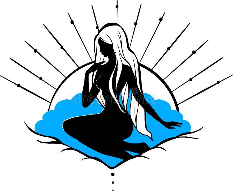 剪影女神美之女神坐贝壳 女孩被隔绝的图从mithology的 向量例证