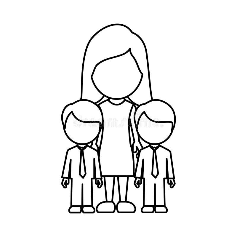 剪影妇女她的男孩孪生象 向量例证
