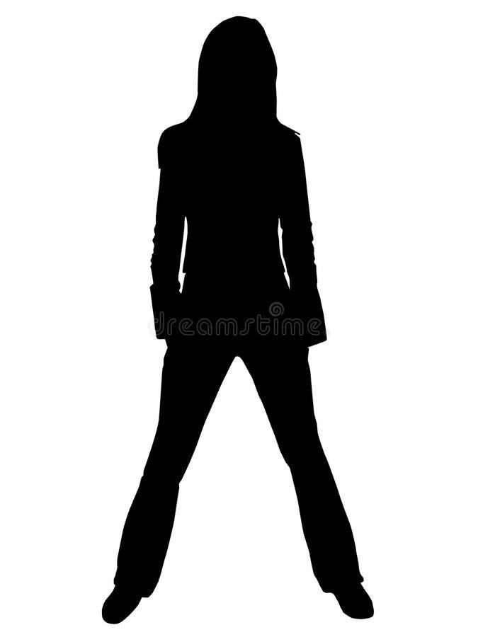 剪影妇女年轻人 免版税库存照片