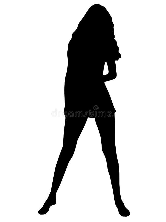 剪影妇女年轻人 免版税图库摄影