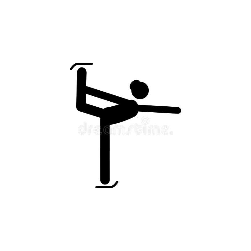 剪影妇女花样滑冰运动员运动员被隔绝的象 冬季体育比赛学科 黑白设计传染媒介例证 W 库存例证