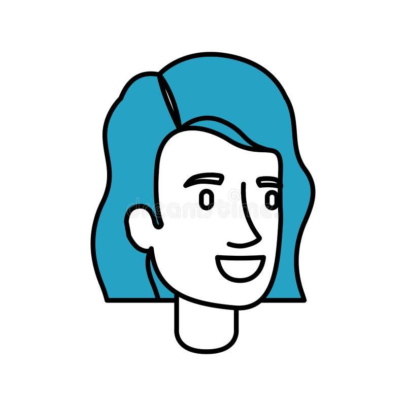 剪影妇女面孔的颜色部分与短的蓝色头发的和波浪 库存例证