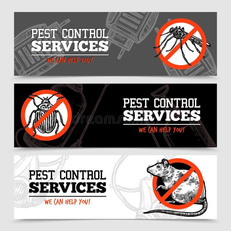 剪影害虫控制昆虫横幅 皇族释放例证
