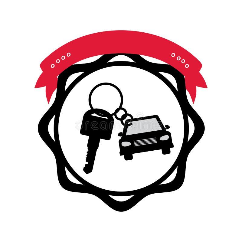 剪影封印有标签的钥匙圈汽车 向量例证