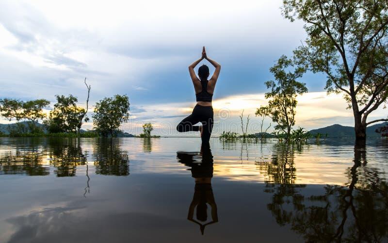 剪影少妇生活方式行使重要思考,并且实践反射在洪水在水库,背景的树 免版税库存照片