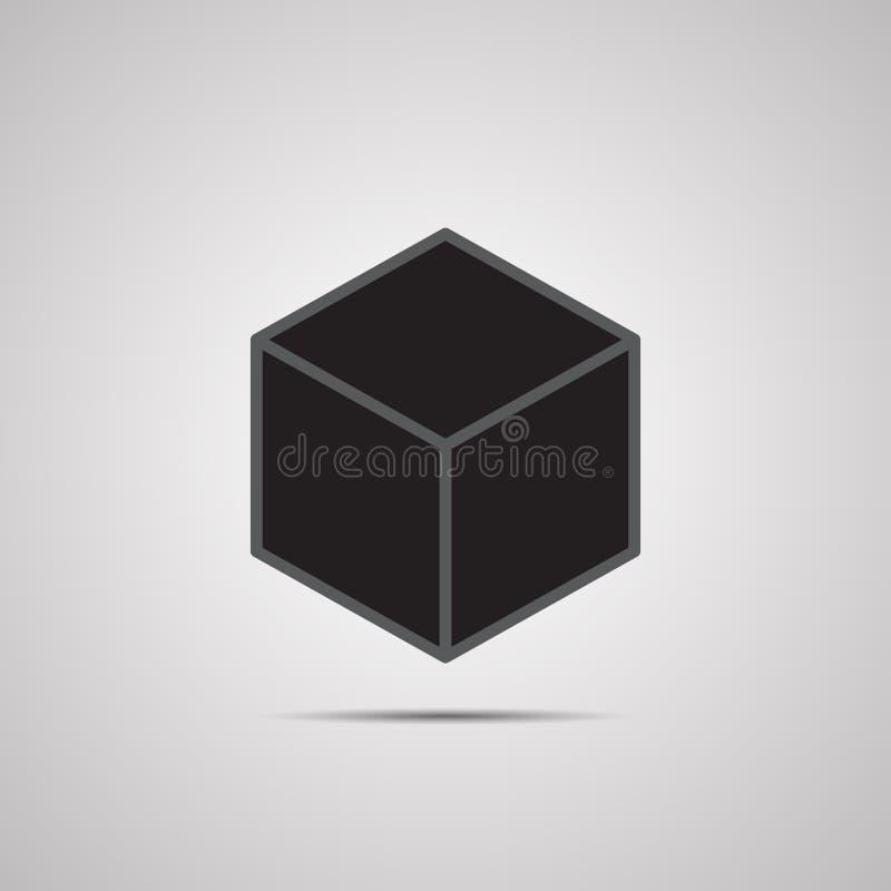 剪影平的象,传染媒介设计 黑3d立方体 皇族释放例证