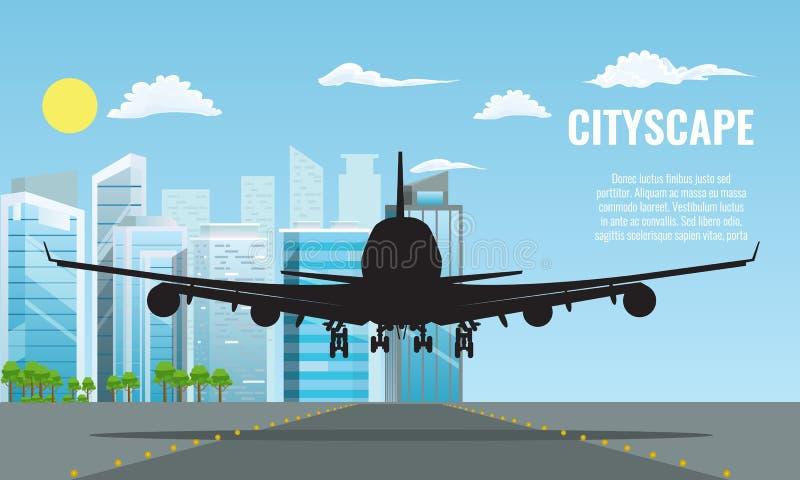 剪影平面着陆或离开在现代都市风景 平和单色旅行概念背景传染媒介 库存例证