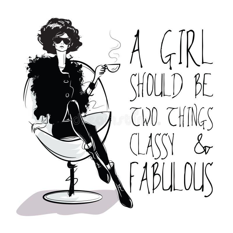 剪影式的时尚女孩与时兴的行情 库存例证