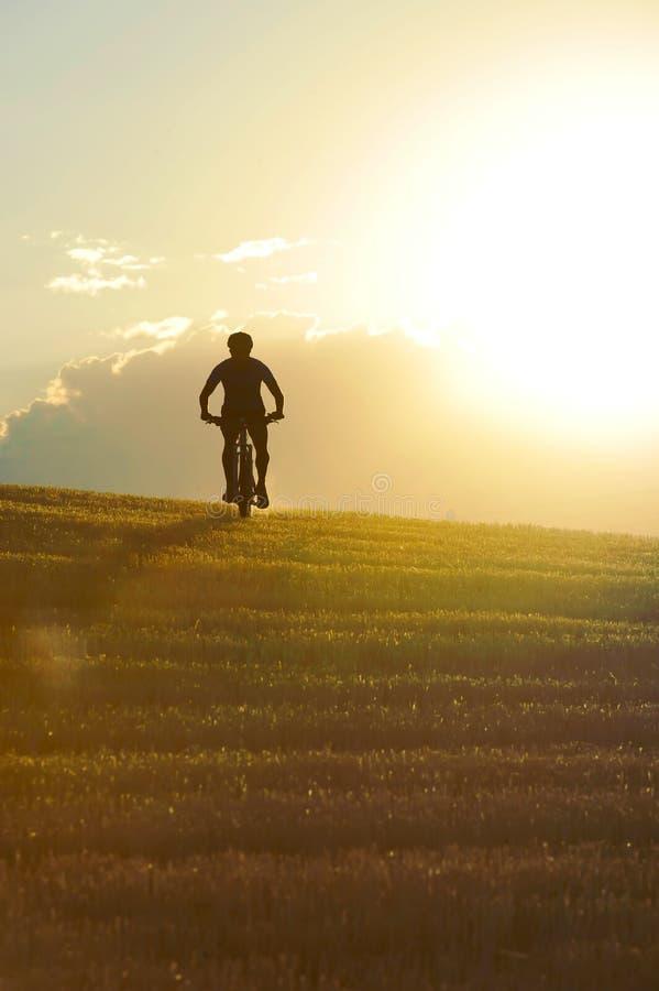 剪影循环下坡骑马越野登上的体育人 免版税库存图片