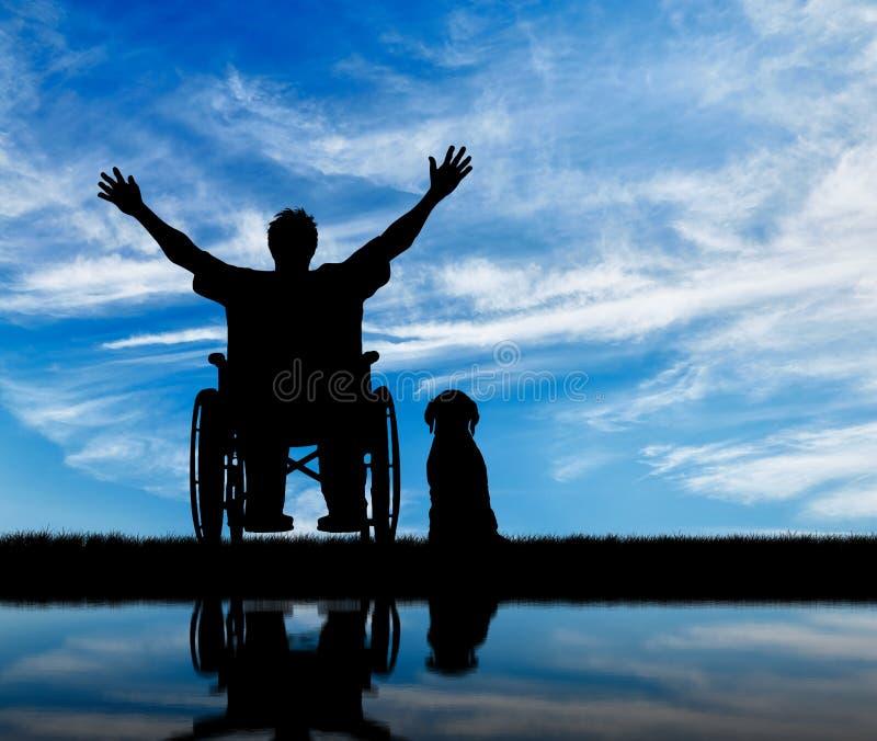 剪影愉快的残疾人和狗 免版税库存照片
