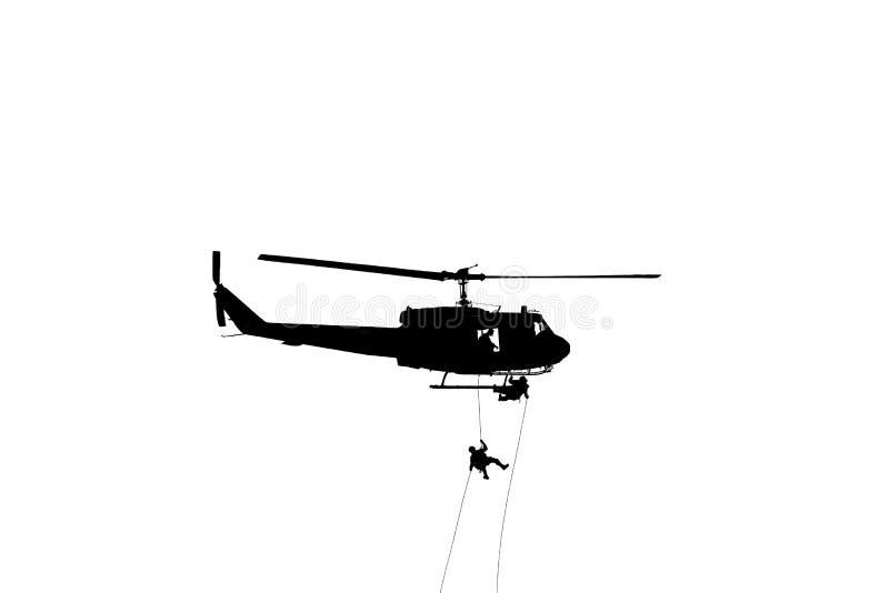 剪影战士在白色背景坐式下降法下来从有战士的直升机攻击当心在隔绝的危险 免版税库存照片