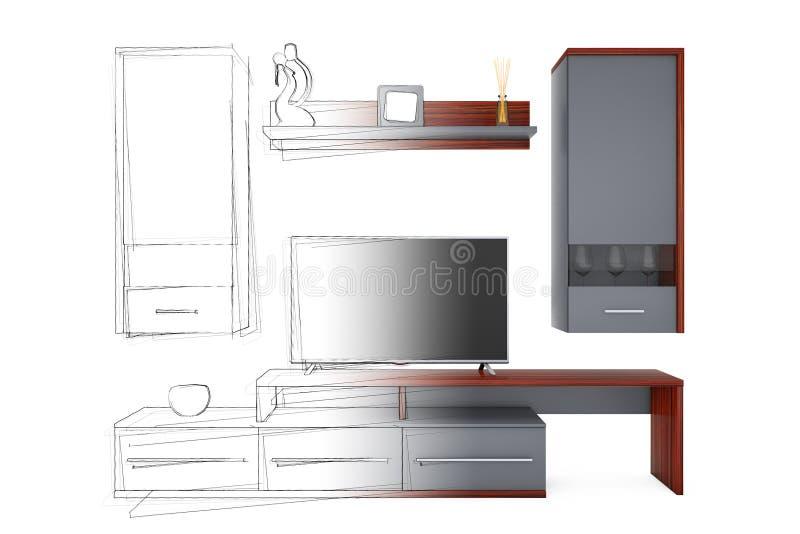从剪影手图画想法到现代客厅组合壁橱 库存例证