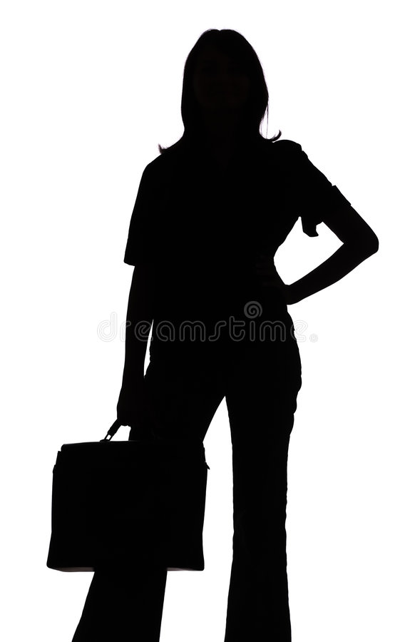 剪影手提箱妇女 免版税库存照片