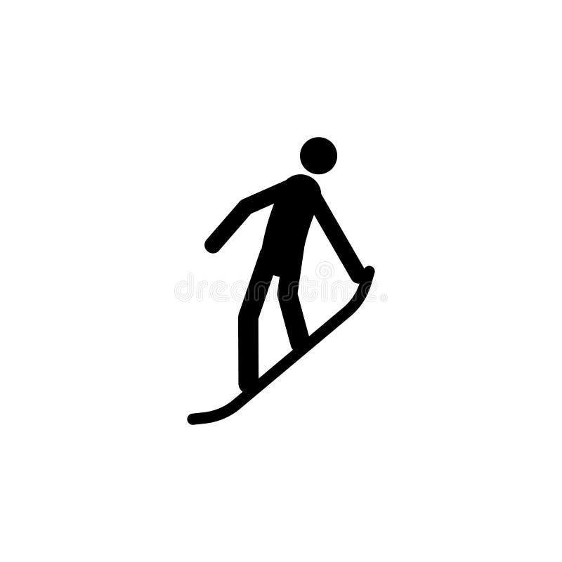 剪影挡雪板运动员被隔绝的象 冬季体育比赛学科 黑白设计传染媒介例证 网picto 库存例证